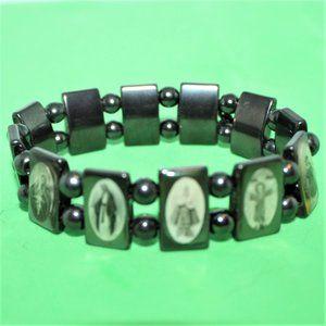Hematite Stretch Bracelet Religious Angels Icons